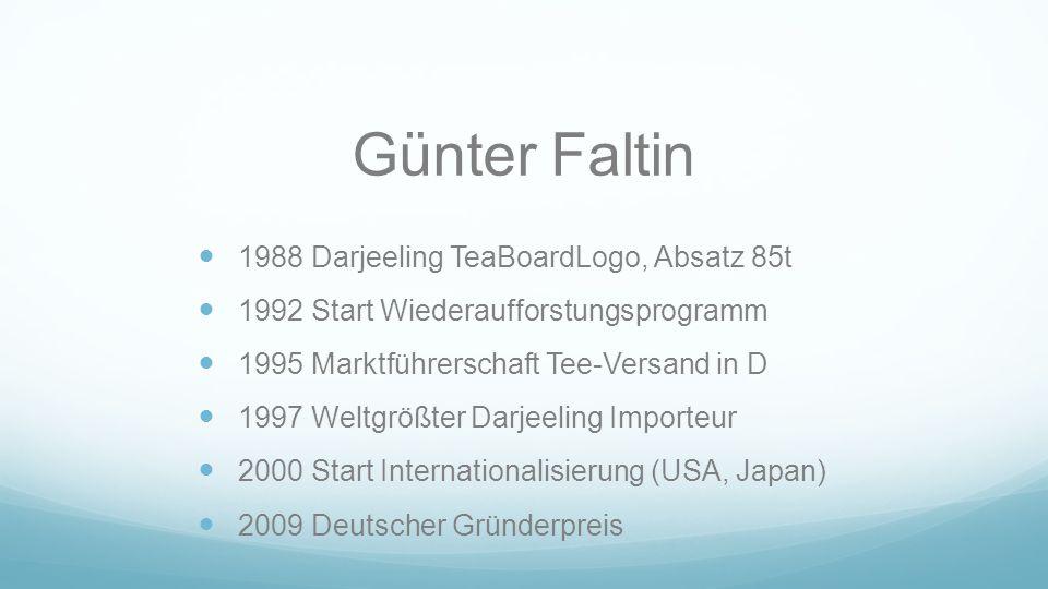 Günter Faltin 1988 Darjeeling TeaBoardLogo, Absatz 85t