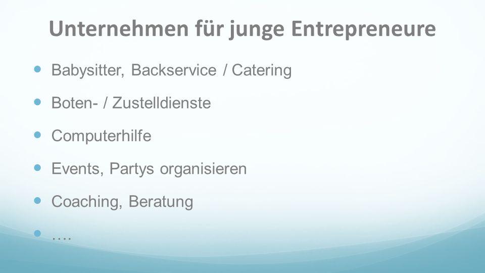 Unternehmen für junge Entrepreneure
