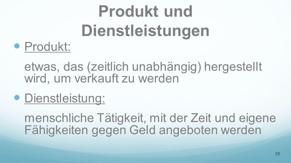 Produkt und Dienstleistungen
