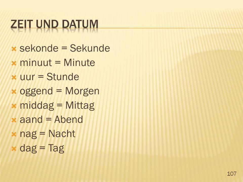 zeit und datum sekonde = Sekunde minuut = Minute uur = Stunde
