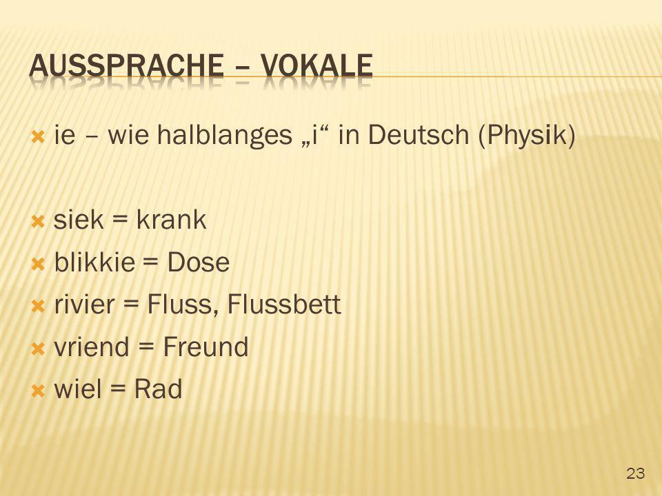 """Aussprache – vokale ie – wie halblanges """"i in Deutsch (Physik)"""