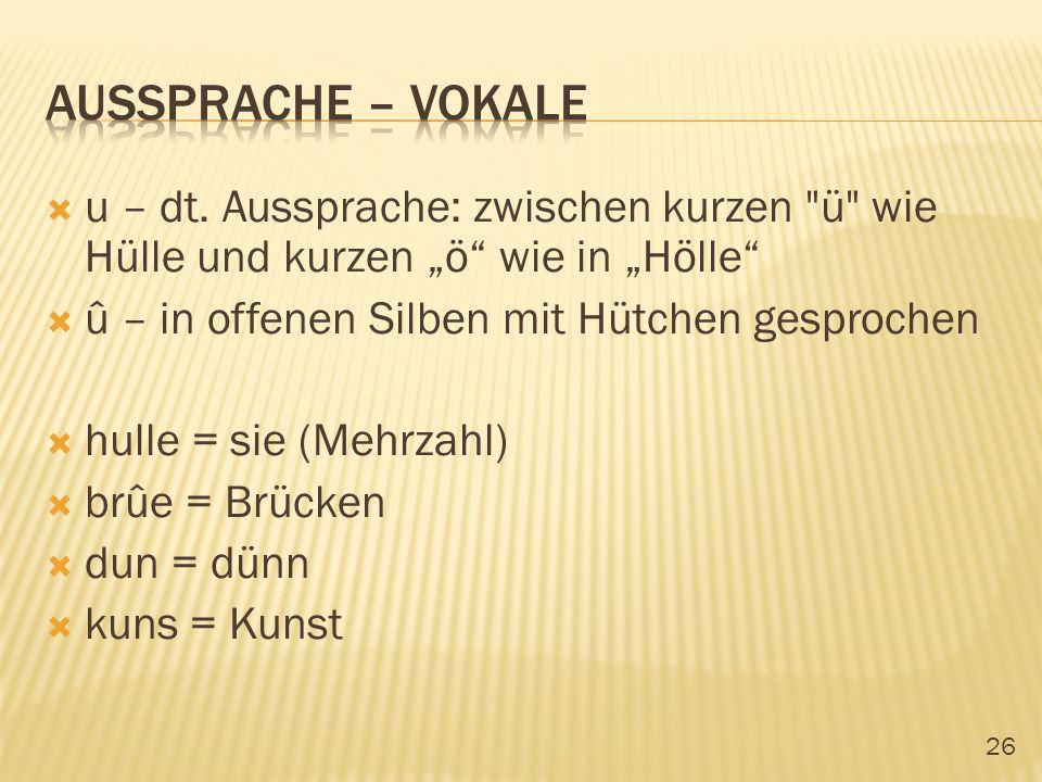 """Aussprache – vokale u – dt. Aussprache: zwischen kurzen ü wie Hülle und kurzen """"ö wie in """"Hölle"""