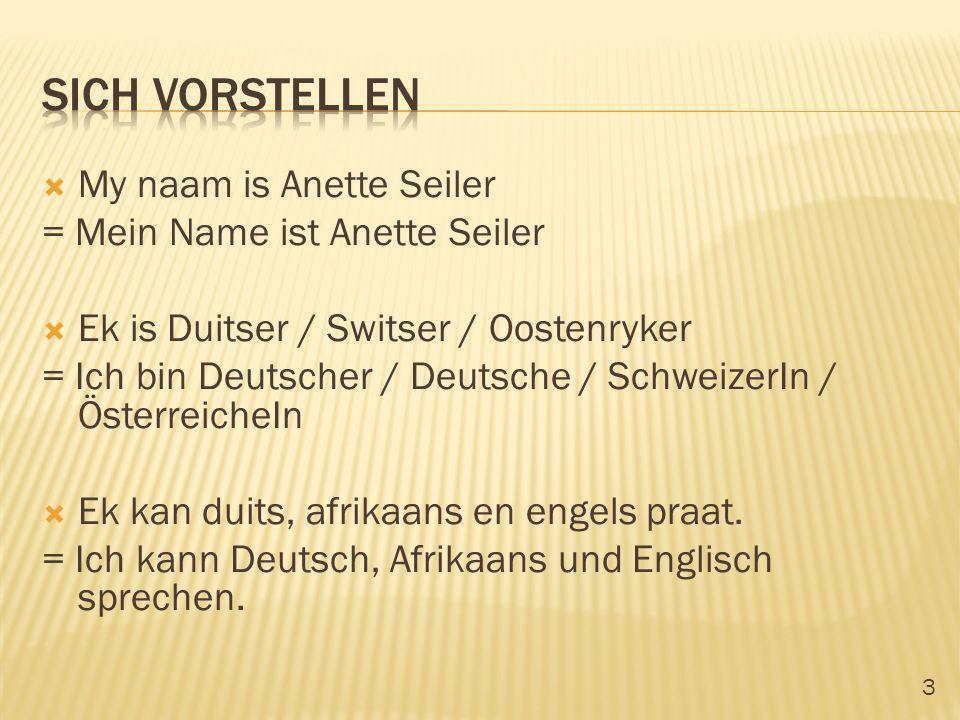 Sich vorstellen My naam is Anette Seiler = Mein Name ist Anette Seiler