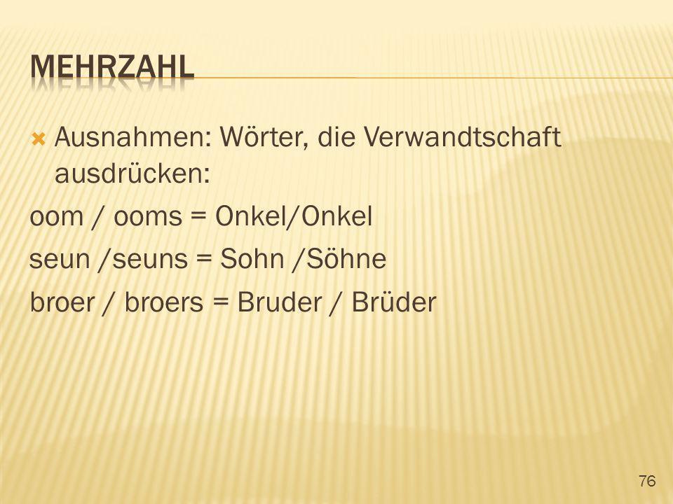 MEHRZAHL Ausnahmen: Wörter, die Verwandtschaft ausdrücken: