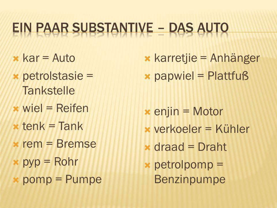 Ein paar substantive – das Auto