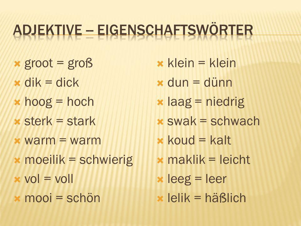 adjektive -- eigenschaftswörter