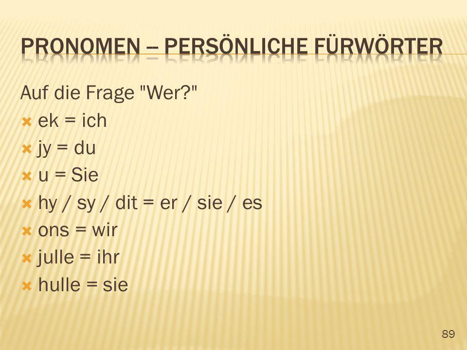 pronomen -- persönliche Fürwörter