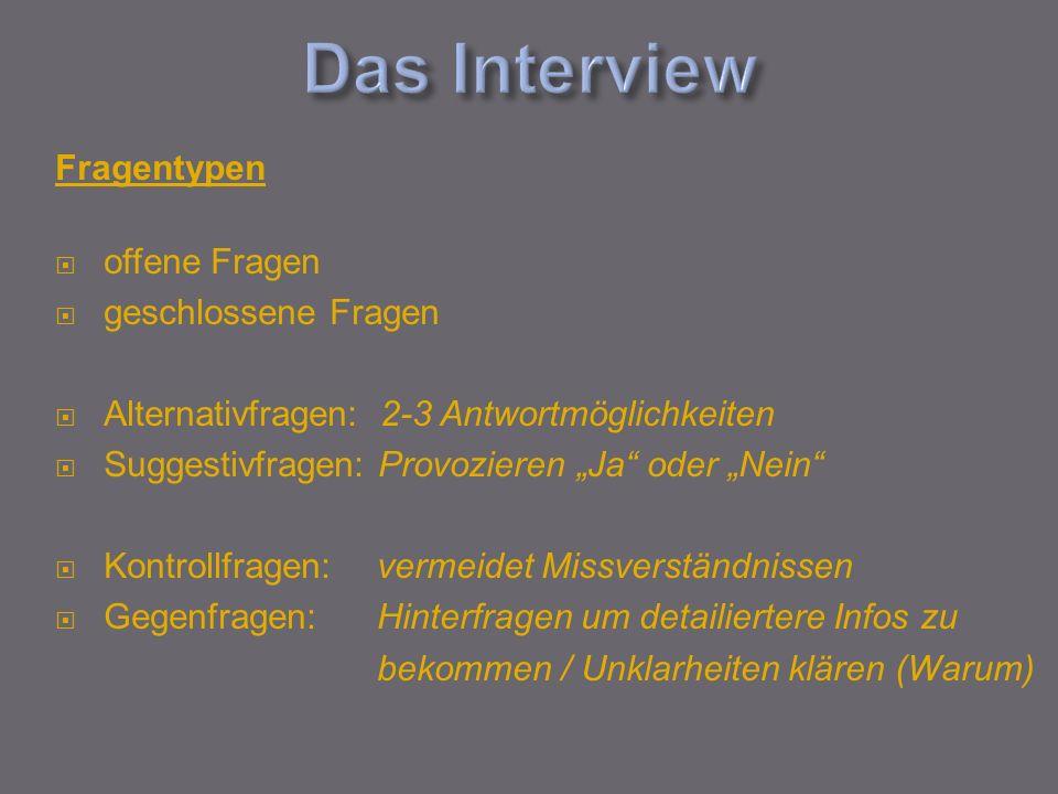 Das Interview Fragentypen offene Fragen geschlossene Fragen