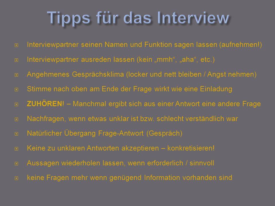 Tipps für das Interview