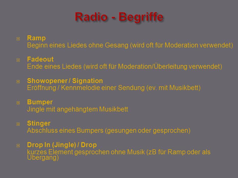 Radio - Begriffe Ramp. Beginn eines Liedes ohne Gesang (wird oft für Moderation verwendet) Fadeout.