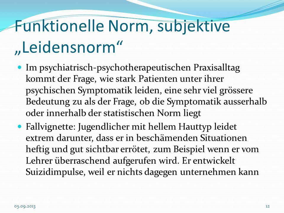 """Funktionelle Norm, subjektive """"Leidensnorm"""