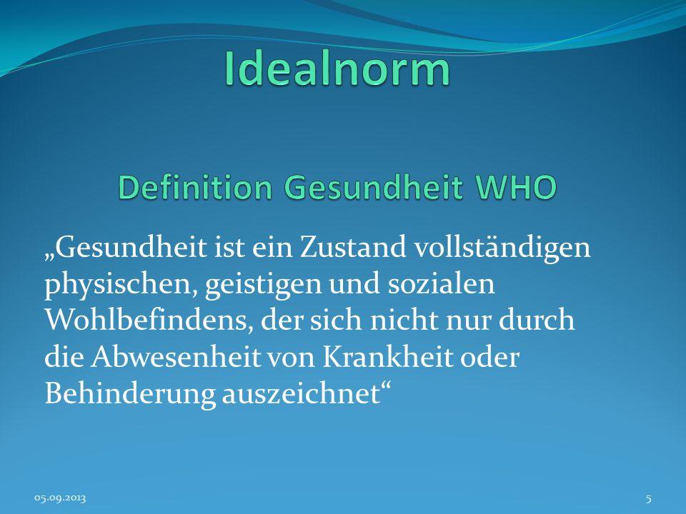 Idealnorm Definition Gesundheit WHO