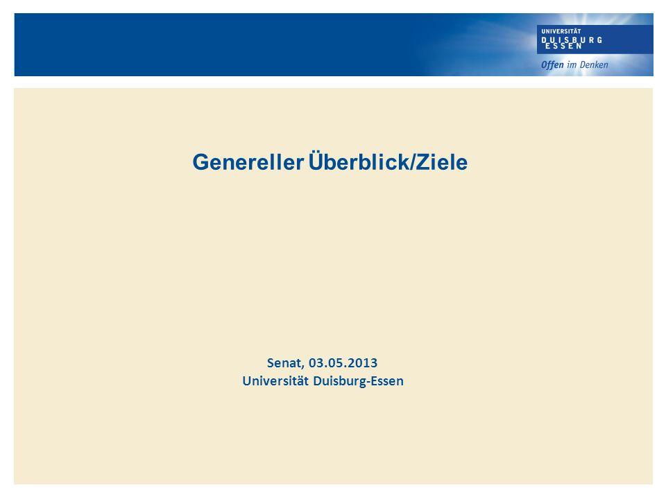 Genereller Überblick/Ziele Universität Duisburg-Essen