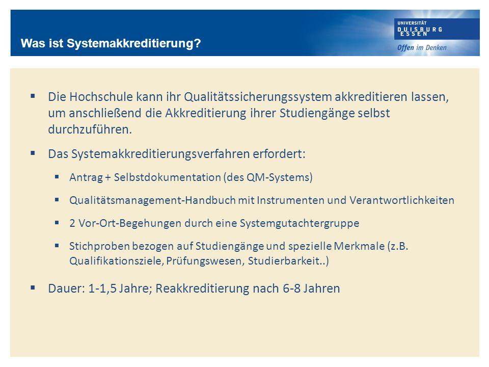 Das Systemakkreditierungsverfahren erfordert:
