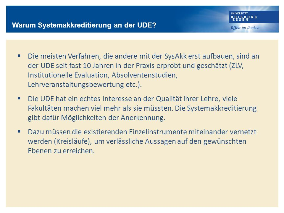 Warum Systemakkreditierung an der UDE
