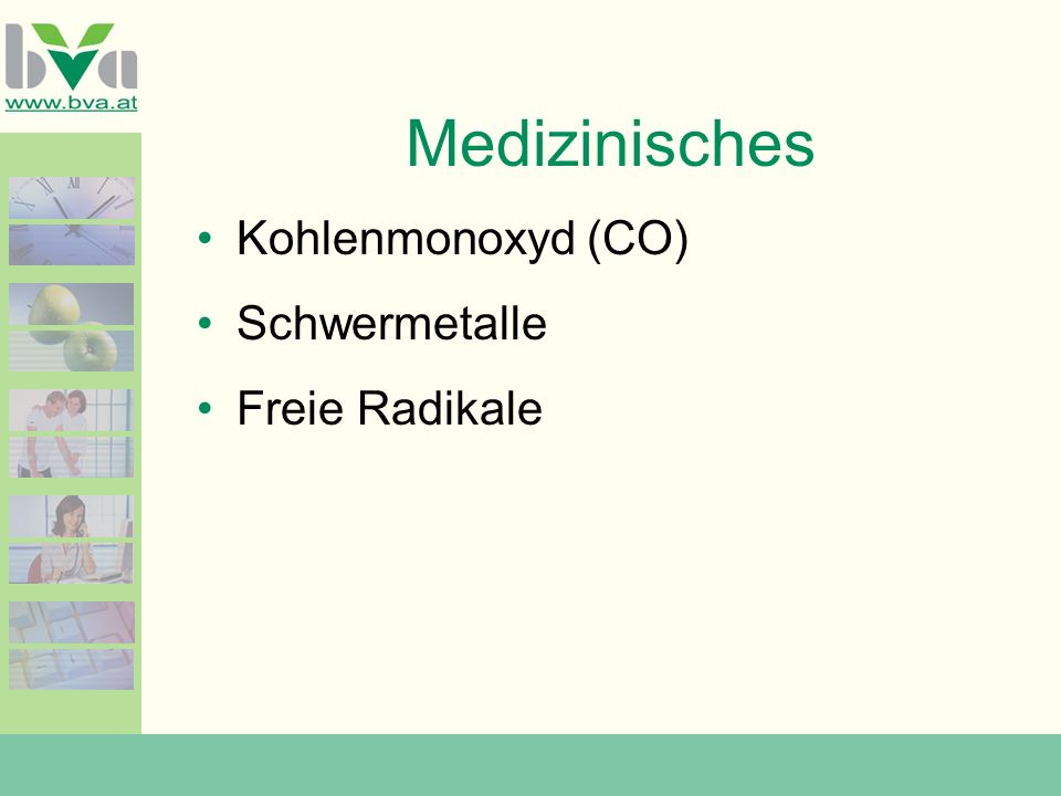 Medizinisches Kohlenmonoxyd (CO) Schwermetalle Freie Radikale