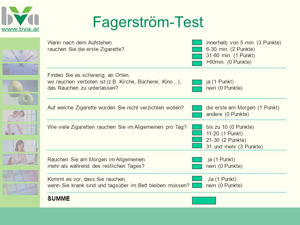 Fagerström-Test SUMME