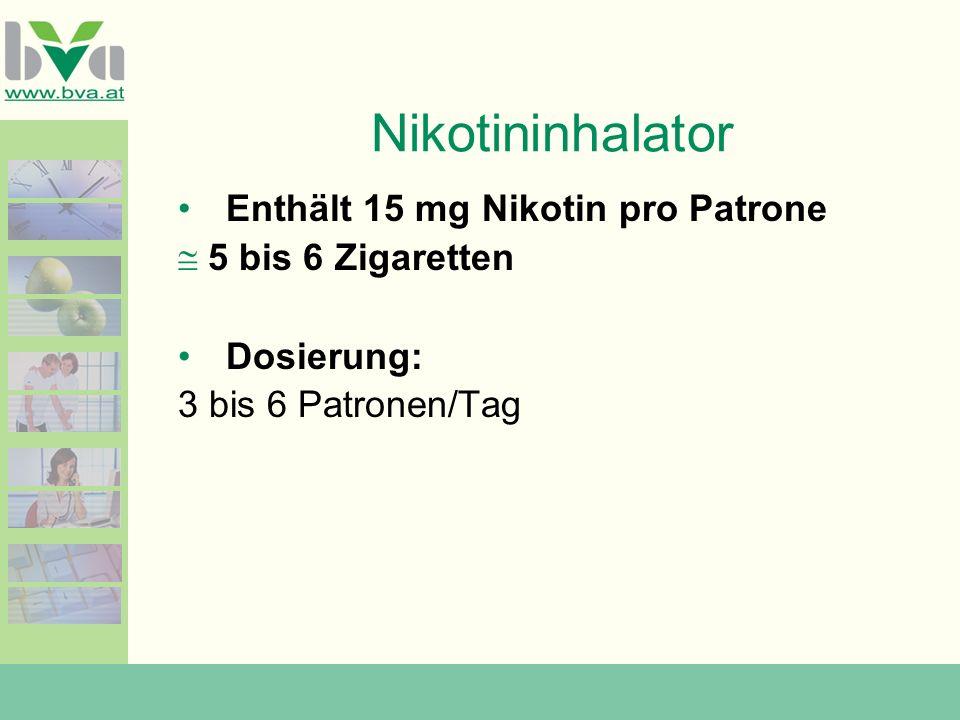 Nikotininhalator Enthält 15 mg Nikotin pro Patrone 5 bis 6 Zigaretten