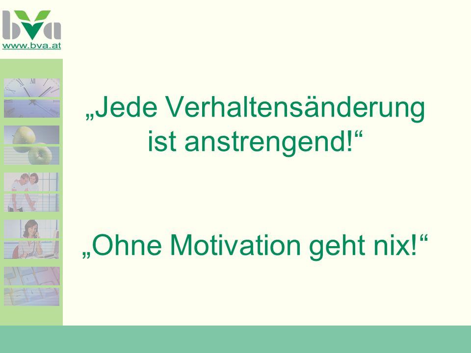 """""""Jede Verhaltensänderung ist anstrengend! """"Ohne Motivation geht nix!"""