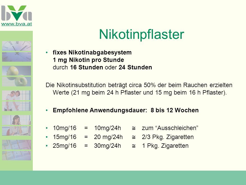 Nikotinpflaster fixes Nikotinabgabesystem 1 mg Nikotin pro Stunde durch 16 Stunden oder 24 Stunden.