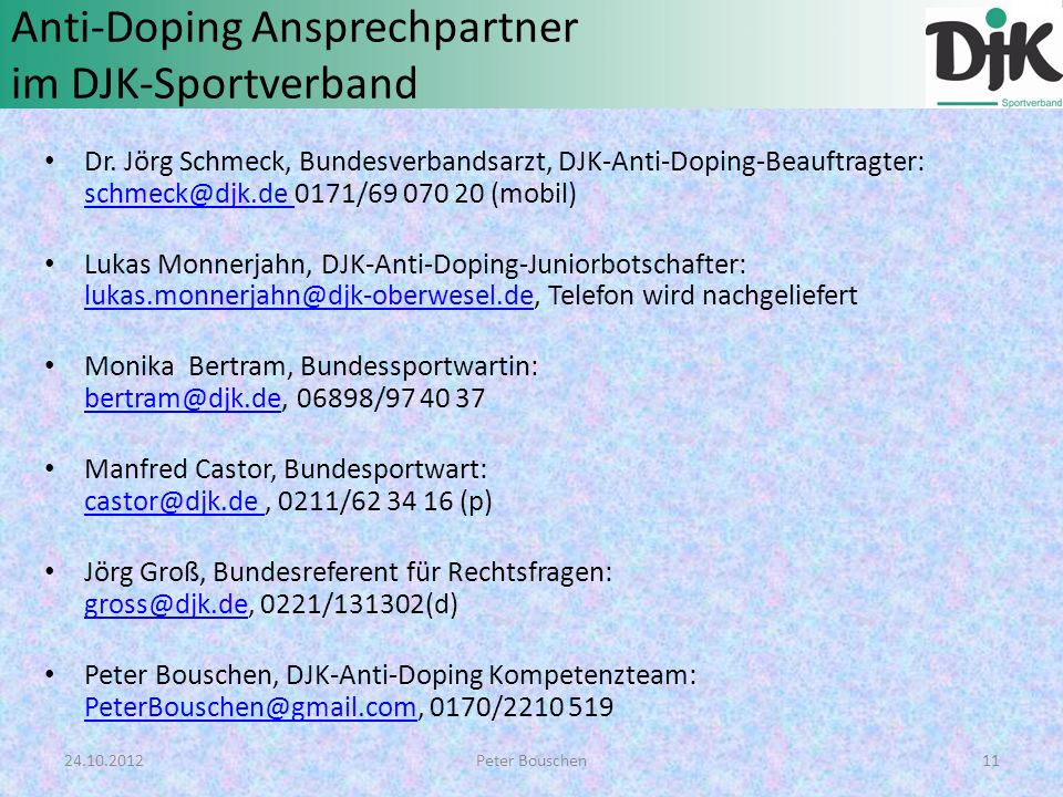 Anti-Doping Ansprechpartner im DJK-Sportverband