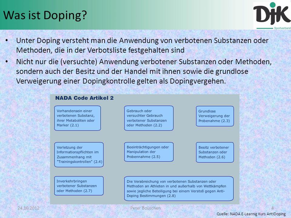 Was ist Doping Unter Doping versteht man die Anwendung von verbotenen Substanzen oder Methoden, die in der Verbotsliste festgehalten sind.