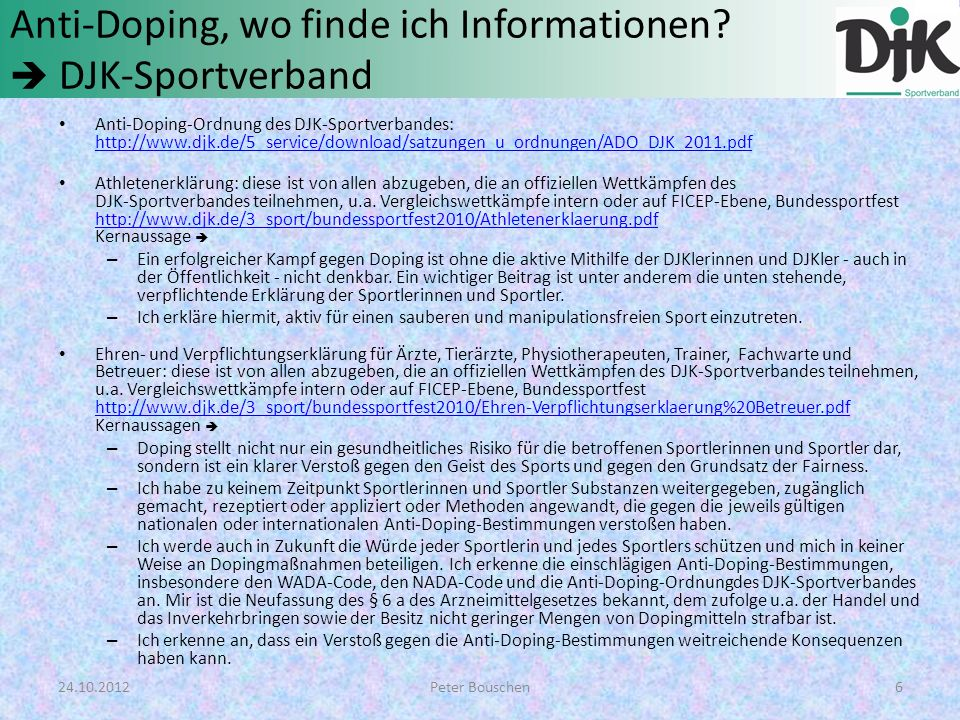 Anti-Doping, wo finde ich Informationen  DJK-Sportverband