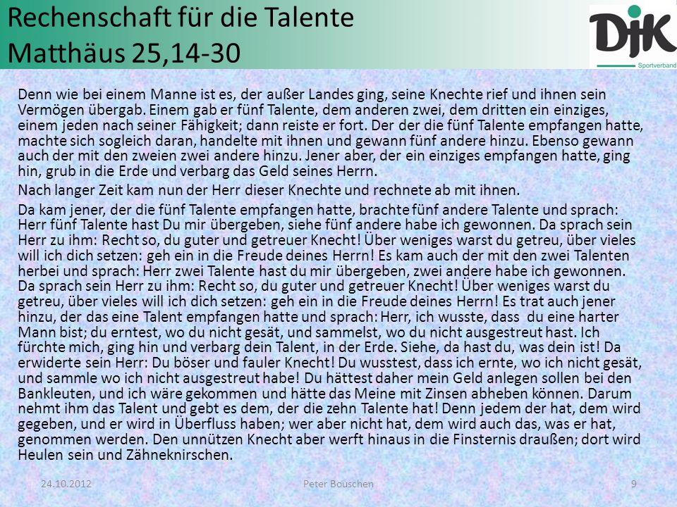Rechenschaft für die Talente Matthäus 25,14-30