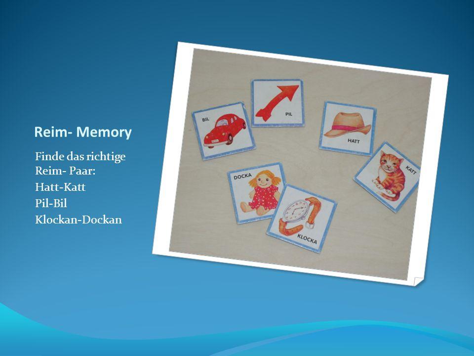 Reim- Memory Finde das richtige Reim- Paar: Hatt-Katt Pil-Bil