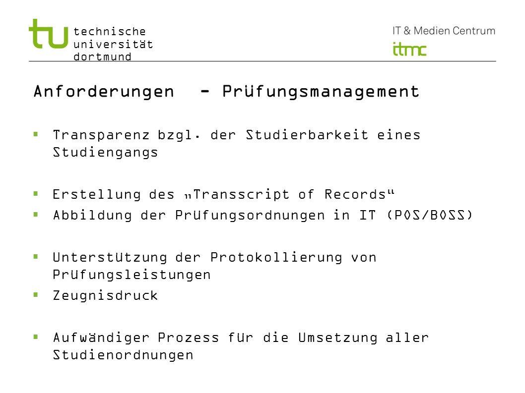 Anforderungen - Prüfungsmanagement