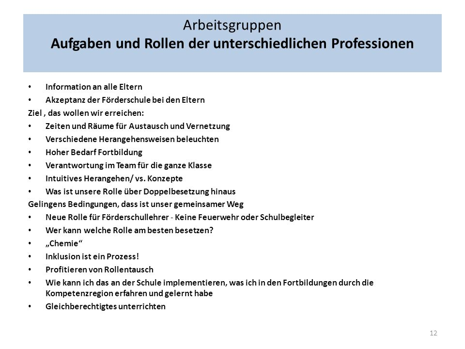 Arbeitsgruppen Aufgaben und Rollen der unterschiedlichen Professionen
