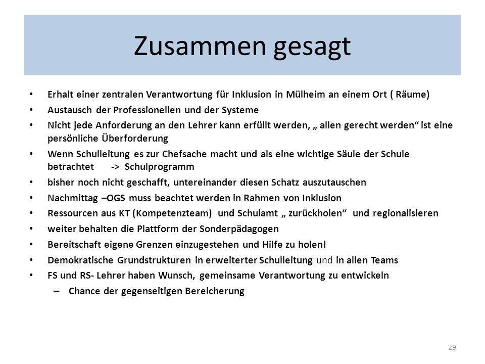 Zusammen gesagtErhalt einer zentralen Verantwortung für Inklusion in Mülheim an einem Ort ( Räume) Austausch der Professionellen und der Systeme.