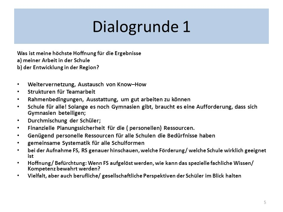 Dialogrunde 1 Weitervernetzung, Austausch von Know–How