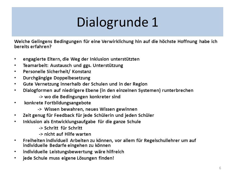 Dialogrunde 1 Welche Gelingens Bedingungen für eine Verwirklichung hin auf die höchste Hoffnung habe ich bereits erfahren
