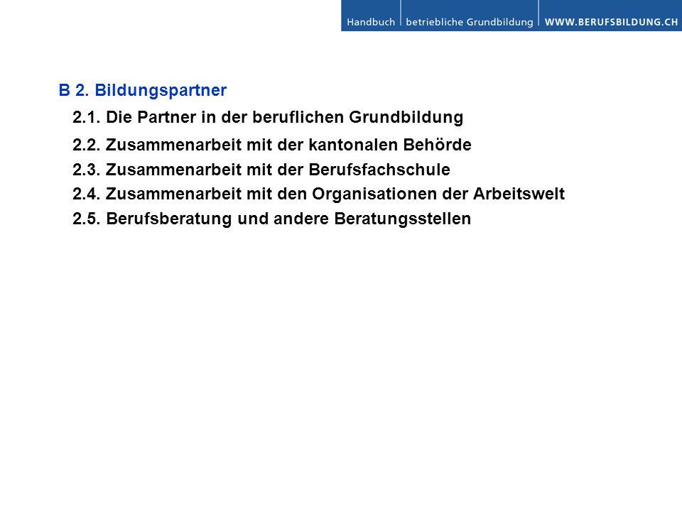 B 2. Bildungspartner 2.1. Die Partner in der beruflichen Grundbildung. 2.2. Zusammenarbeit mit der kantonalen Behörde.