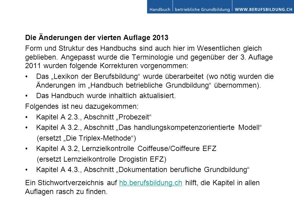 Die Änderungen der vierten Auflage 2013