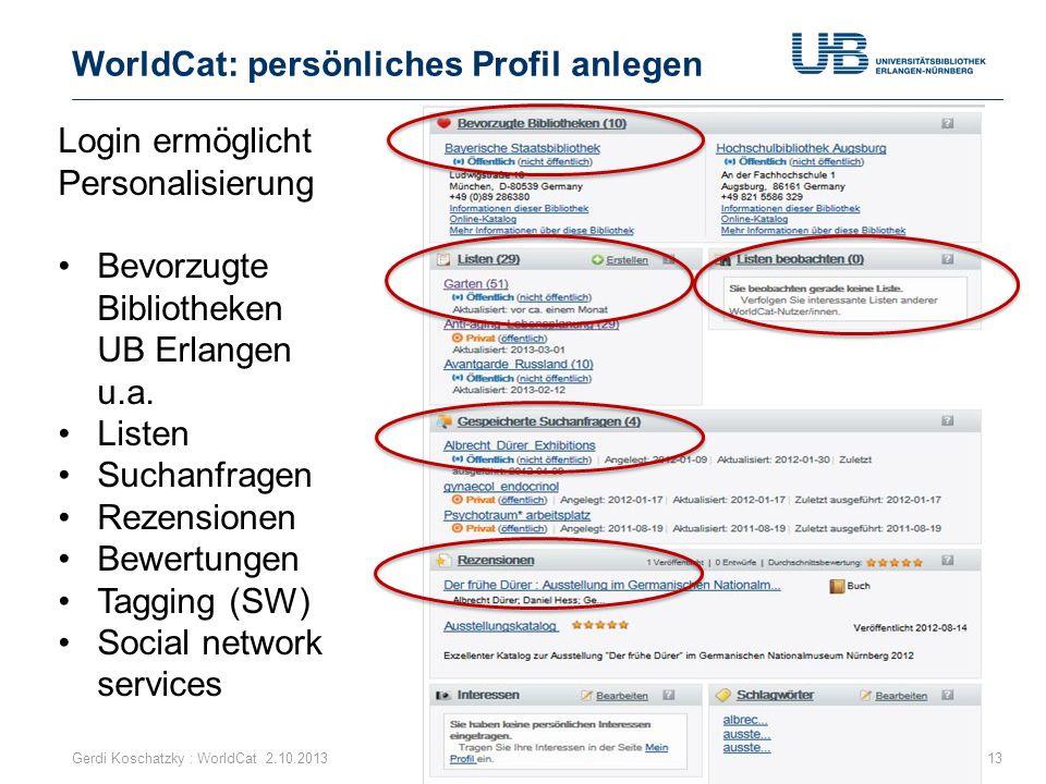 WorldCat: persönliches Profil anlegen