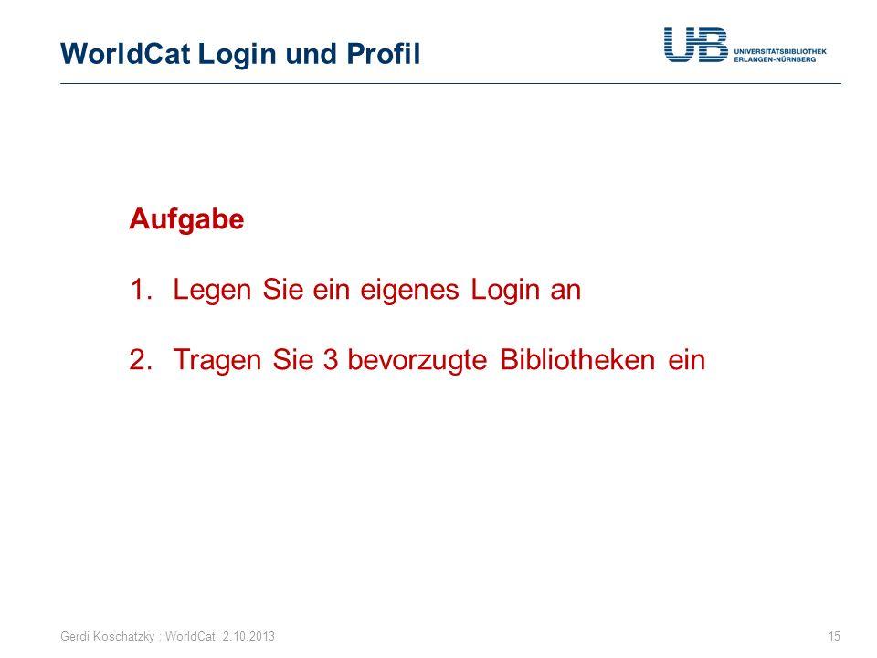 WorldCat Login und Profil