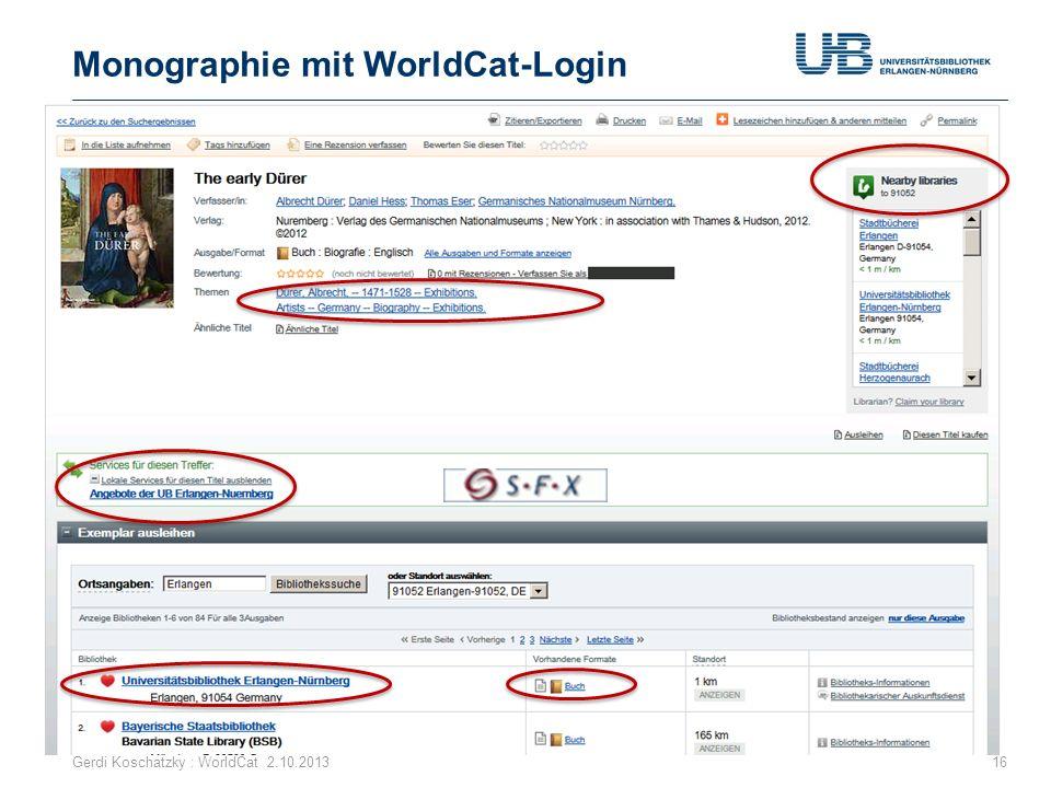 Monographie mit WorldCat-Login