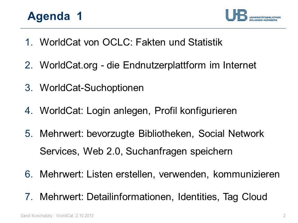 Agenda 1 WorldCat von OCLC: Fakten und Statistik