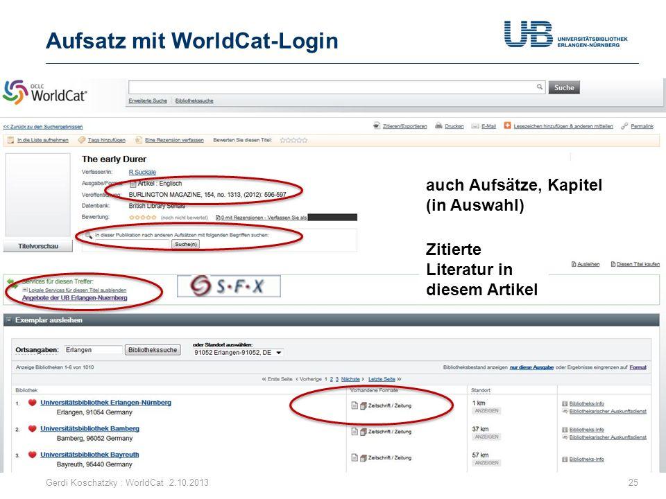 Aufsatz mit WorldCat-Login