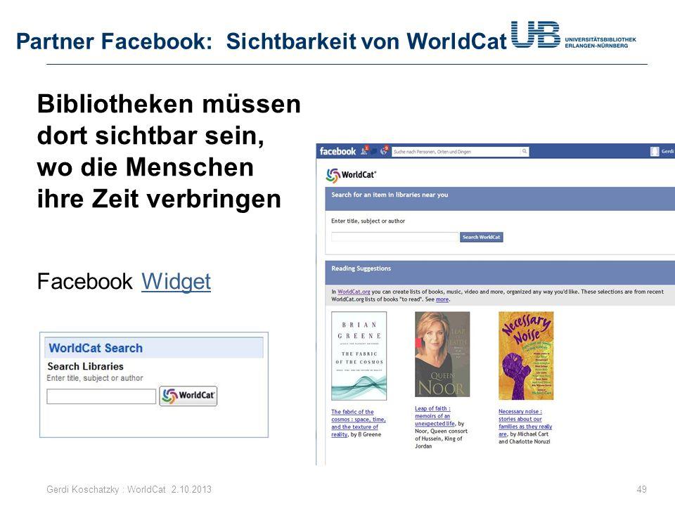 Partner Facebook: Sichtbarkeit von WorldCat