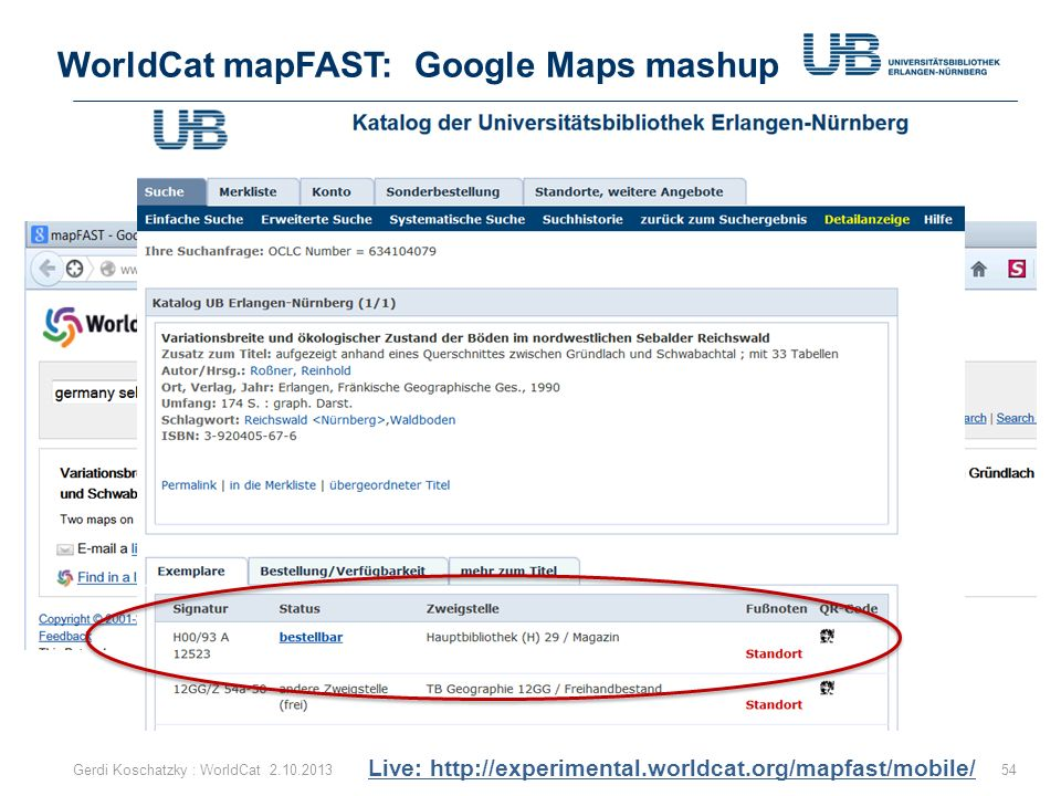 WorldCat mapFAST: Google Maps mashup
