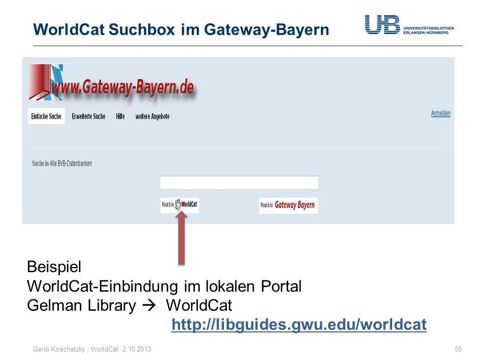 WorldCat Suchbox im Gateway-Bayern