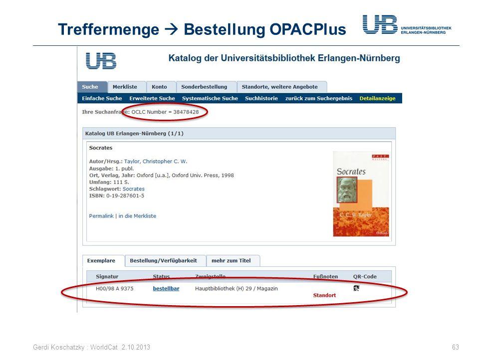 Treffermenge  Bestellung OPACPlus