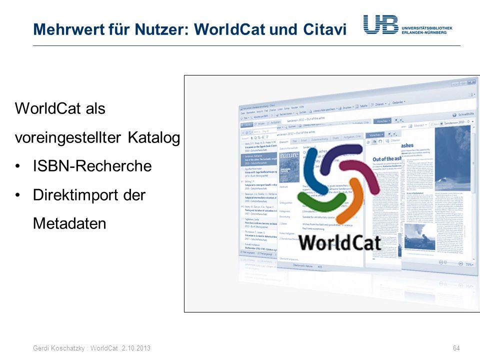 Mehrwert für Nutzer: WorldCat und Citavi