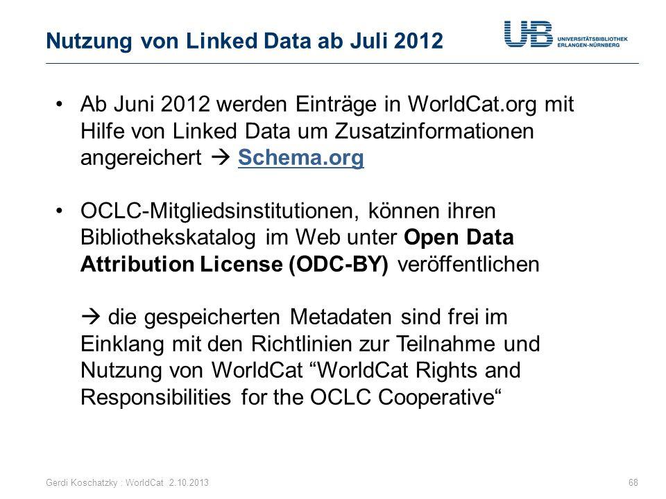 Nutzung von Linked Data ab Juli 2012