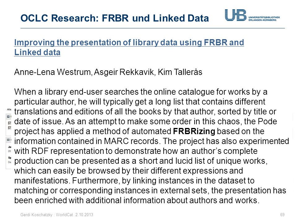 OCLC Research: FRBR und Linked Data