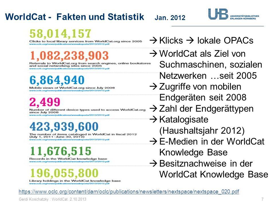 WorldCat - Fakten und Statistik Jan. 2012