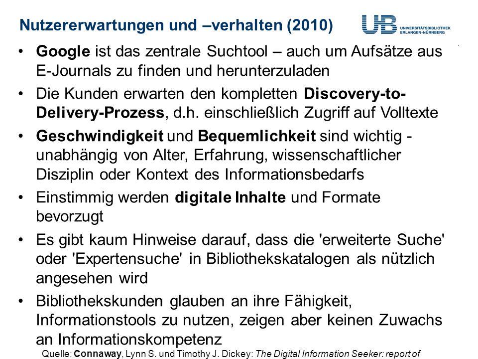 Nutzererwartungen und –verhalten (2010)